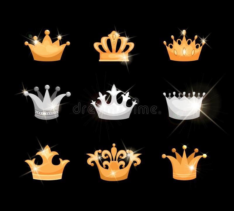 Ícones das coroas do ouro e da prata ajustados ilustração stock