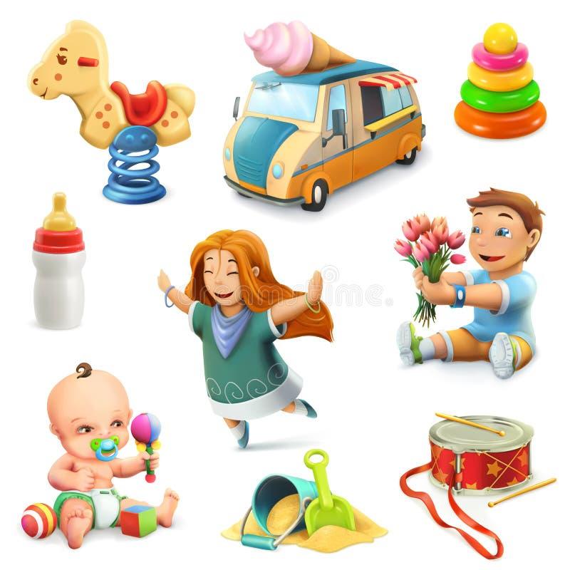 Ícones das crianças e dos brinquedos ilustração stock