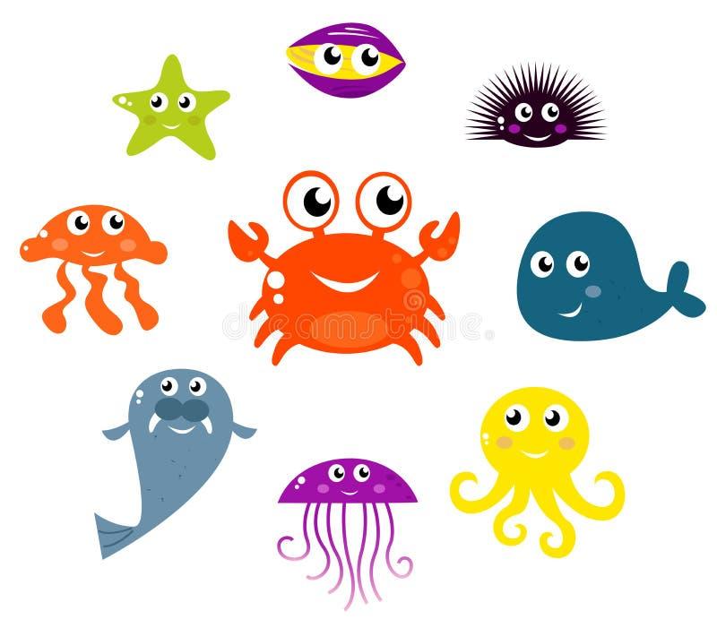 Ícones das criaturas e dos animais do mar. ilustração do vetor