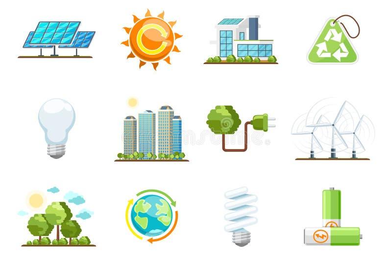 Ícones das energias verdes Grupo da energia limpa de Eco ilustração stock