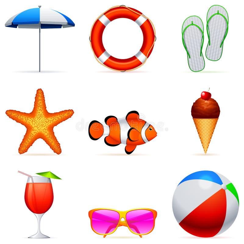 Ícones das férias de verão. ilustração royalty free