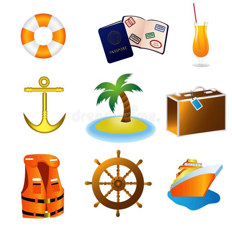 Ícones das férias do curso do cruzeiro ilustração stock
