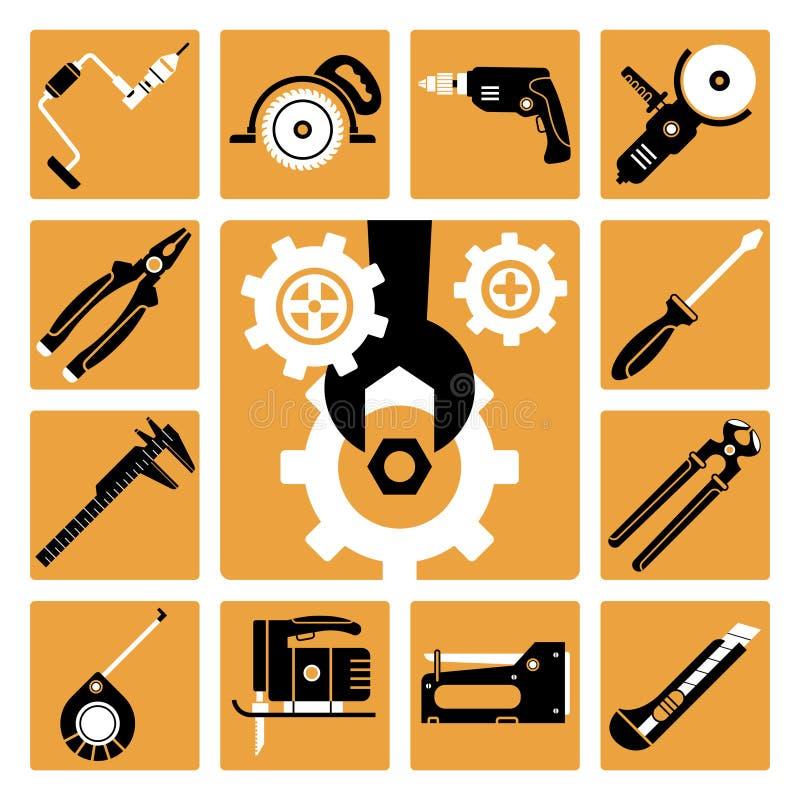 Ícones das ferramentas ajustados ilustração royalty free