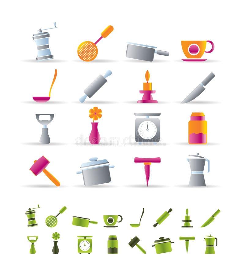 Ícones das ferramentas da cozinha e do agregado familiar ilustração royalty free