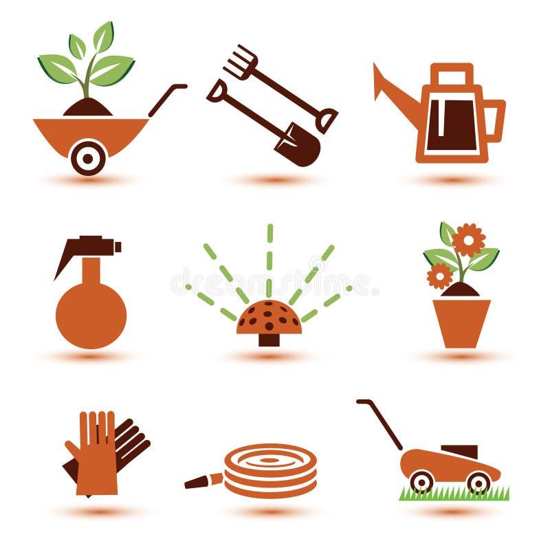 Ícones das ferramentas de jardim ajustados ilustração royalty free