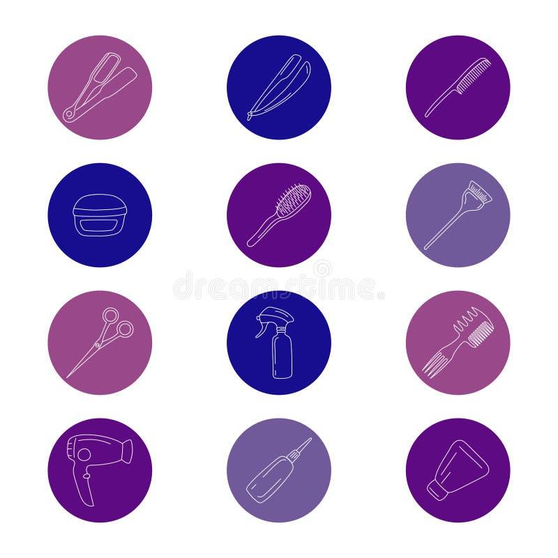 Ícones das ferramentas do barbeiro ajustados ilustração do vetor