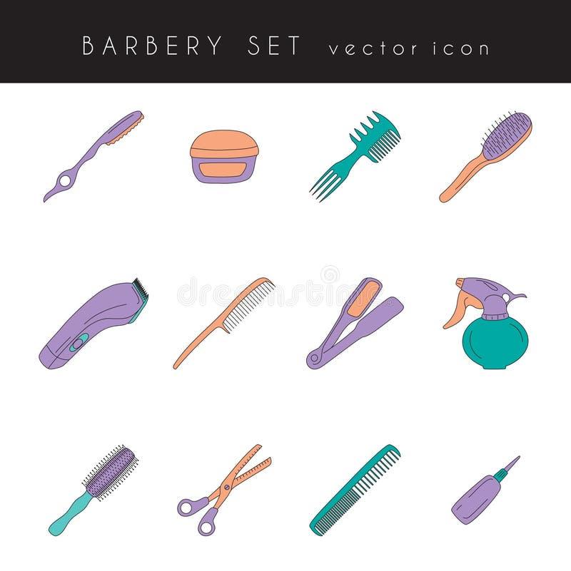 Ícones das ferramentas do barbeiro ajustados ilustração royalty free