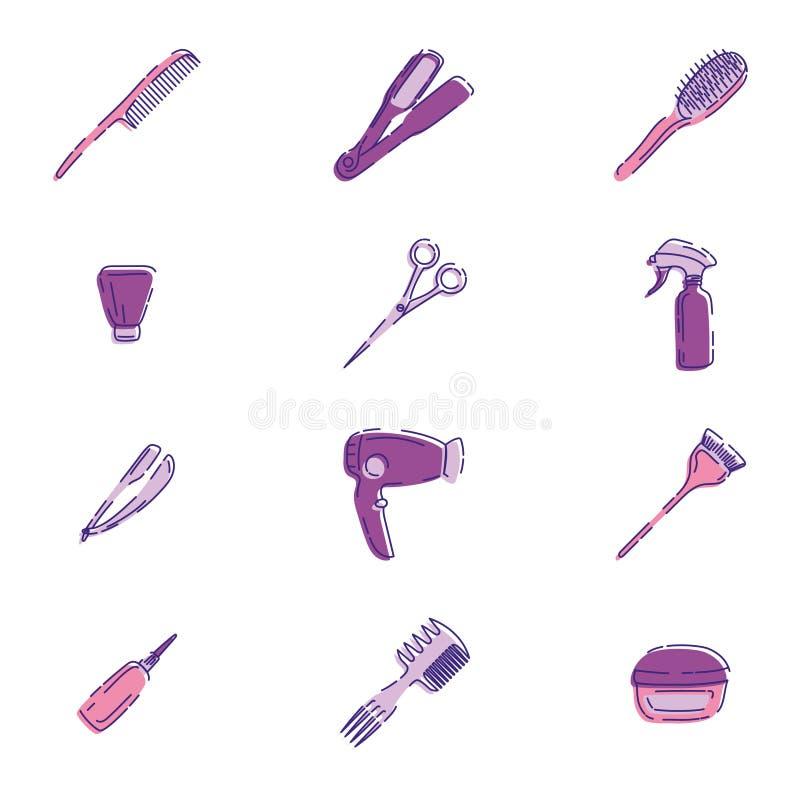 Ícones das ferramentas do barbeiro ajustados ilustração stock