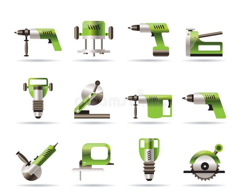 Ícones das ferramentas do edifício e da construção ilustração royalty free