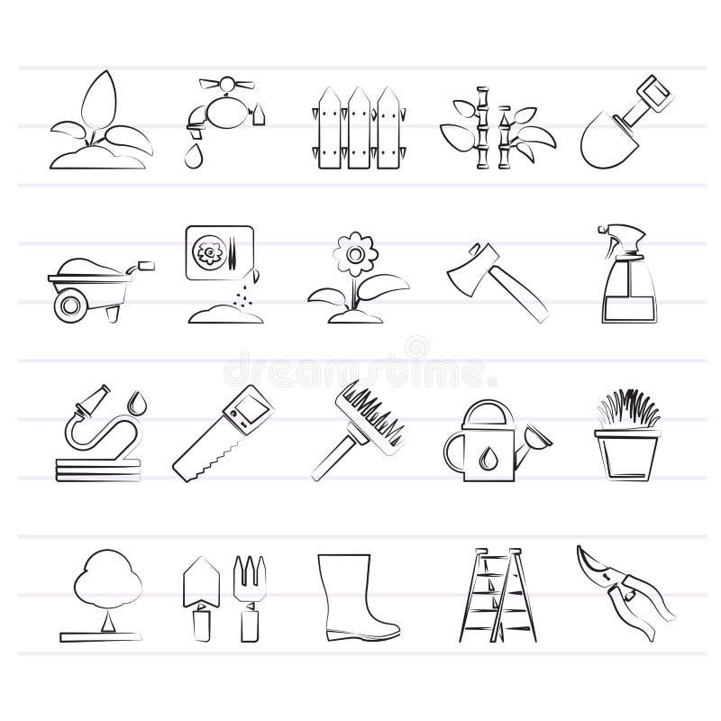 Ícones das ferramentas do jardim e de jardinagem ilustração stock