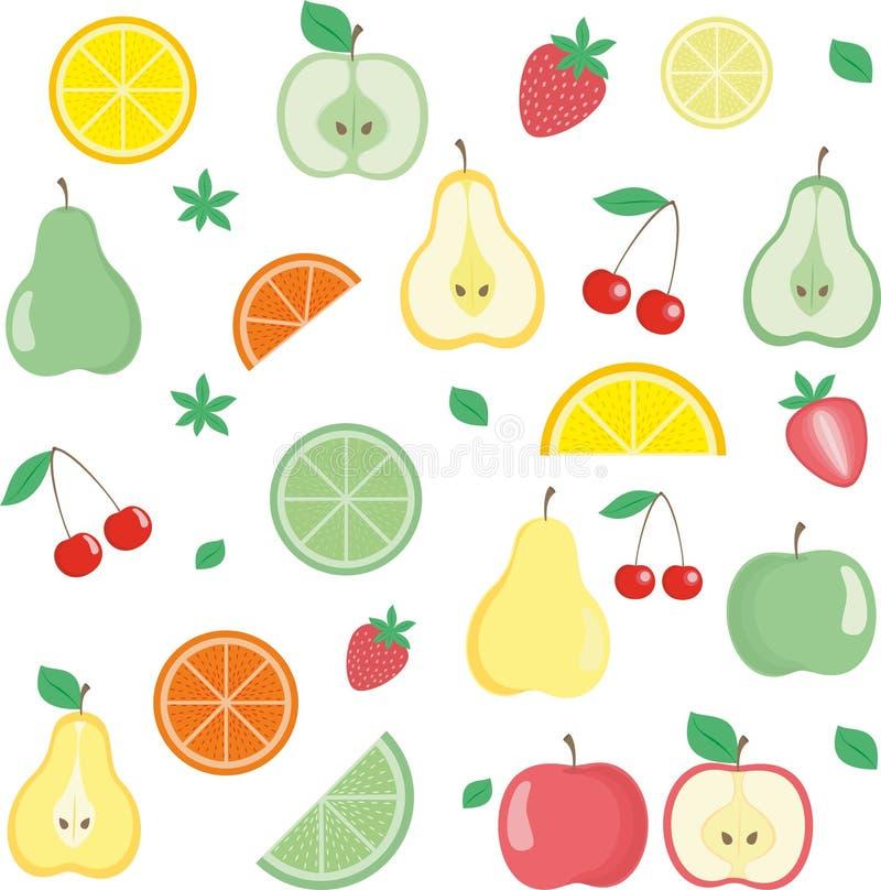 Ícones das frutas ajustados ilustração royalty free