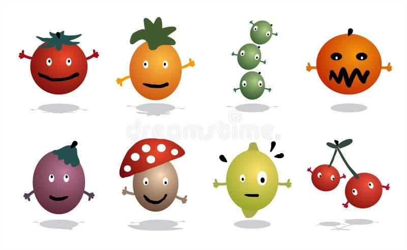 Ícones das frutas e verdura ilustração royalty free