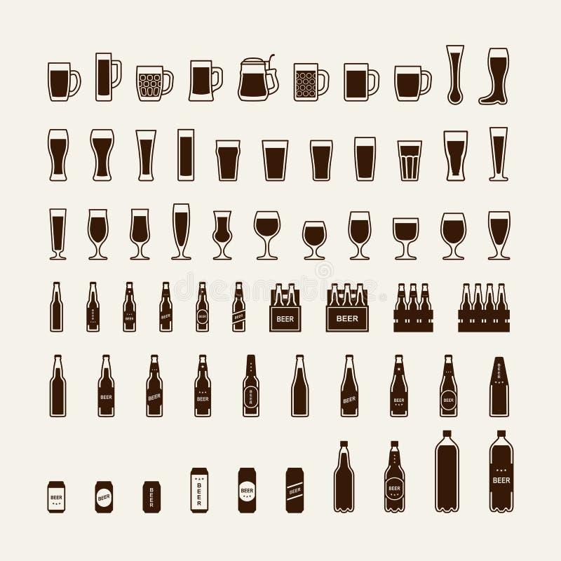 Ícones das garrafas e dos vidros de cerveja ajustados Vetor ilustração do vetor