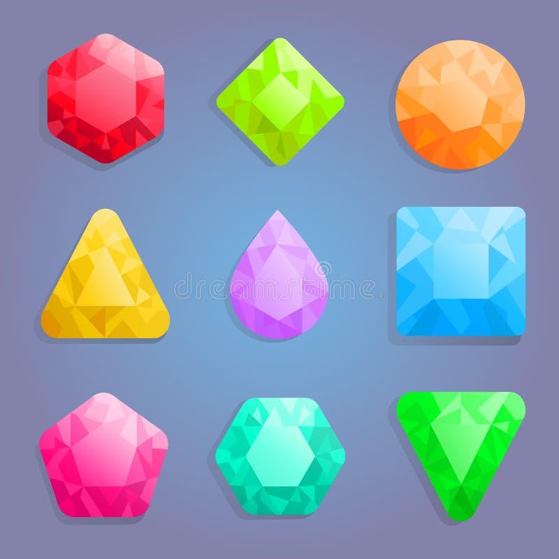 Ícones das gemas ajustados ilustração do vetor