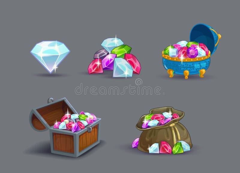 Ícones das gemas dos desenhos animados ajustados ilustração do vetor