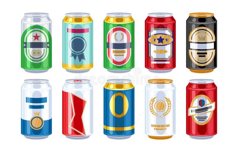 Ícones das latas de cerveja ajustados ilustração do vetor