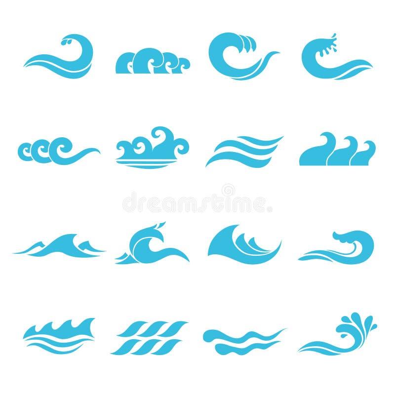 Ícones das ondas ajustados ilustração royalty free