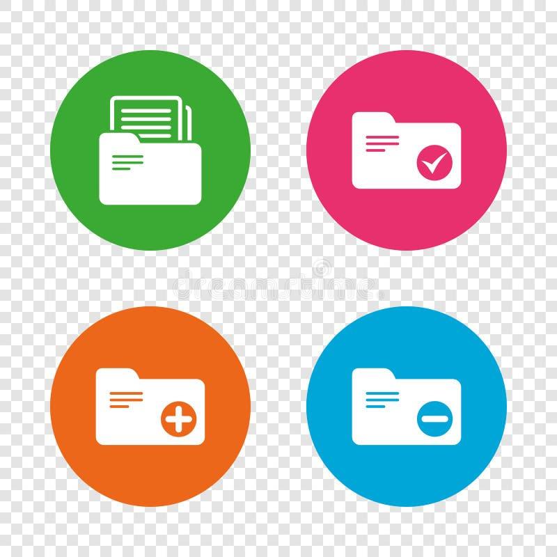 Ícones das pastas da contabilidade Adicione o símbolo do original ilustração stock