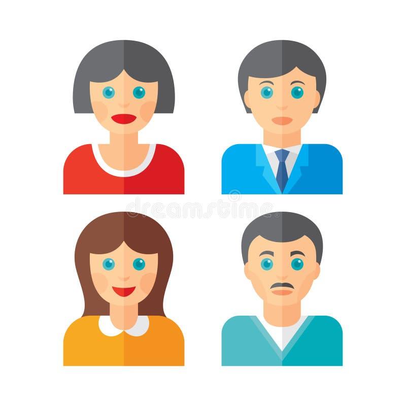 Ícones das pessoas dos povos no estilo liso Ícones dos povos no projeto liso Ilustração do vetor dos povos Sinais humanos dos car ilustração stock