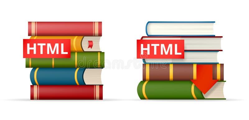 Ícones das pilhas de livros do HTML ilustração do vetor