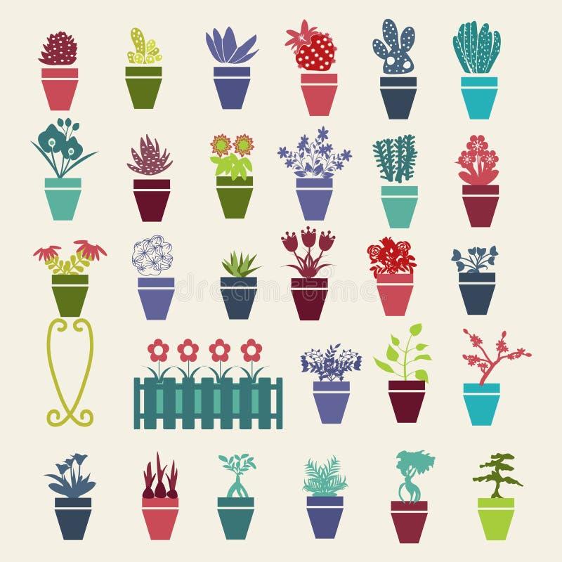 Ícones das plantas de potenciômetro das flores e das ervas do jardim ajustados ilustração do vetor