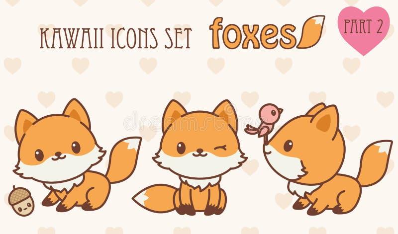 Ícones das raposas de Kawaii ajustados Parte 2 ilustração do vetor
