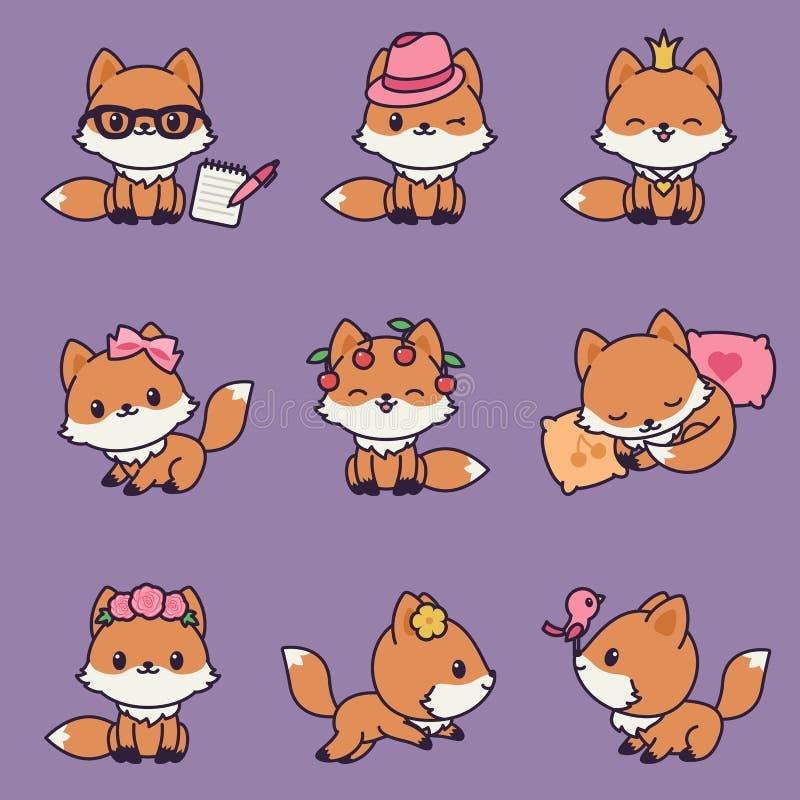 9 ícones das raposas do kawaii ajustados ilustração royalty free