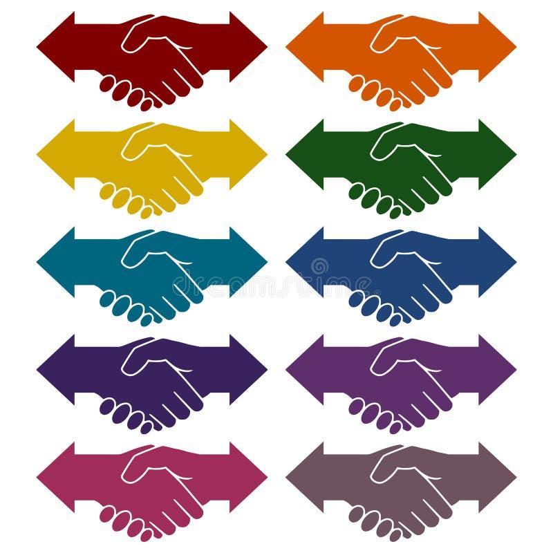 Ícones das setas da agitação da mão da parceria ajustados ilustração royalty free