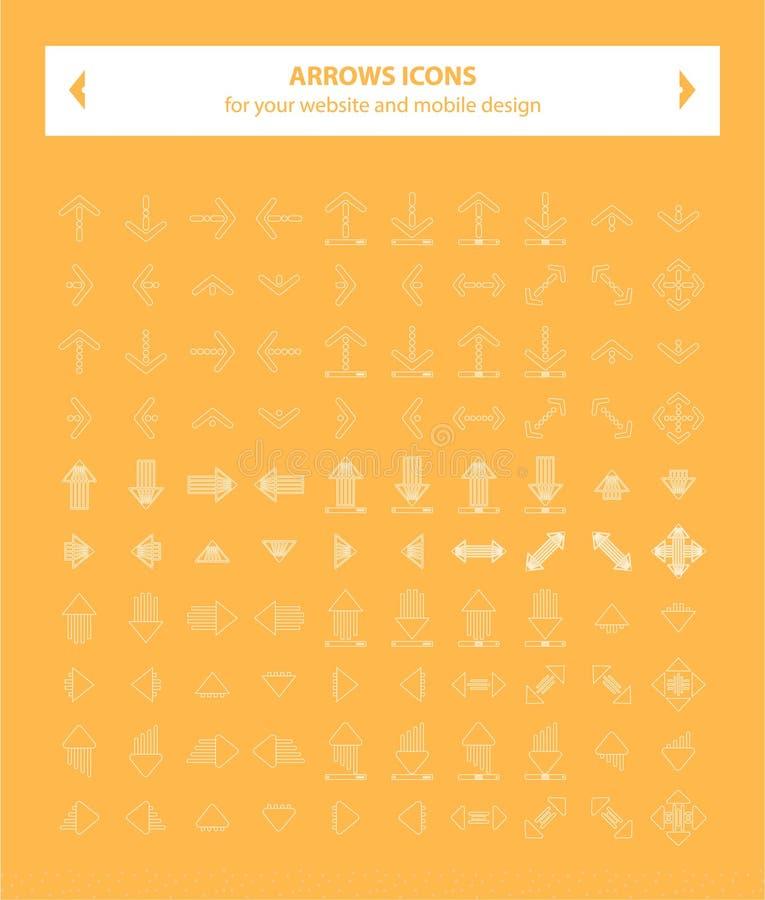 Ícones das setas - linha branco imagens de stock