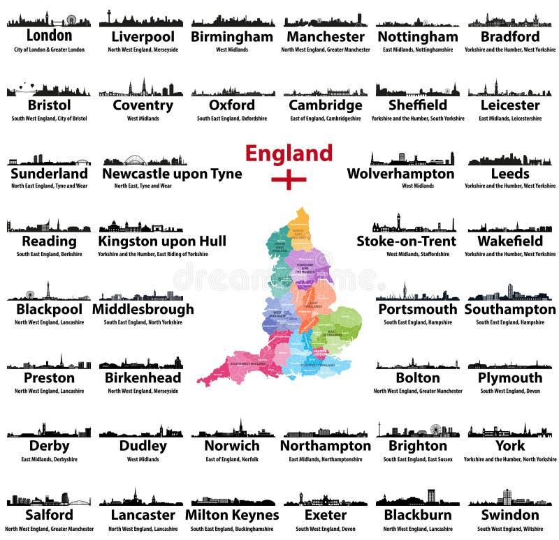 Ícones das skylines das cidades de Inglaterra com nomes da cidade, da região e do condado cerimonial Bandeira e mapa de Inglaterr ilustração stock