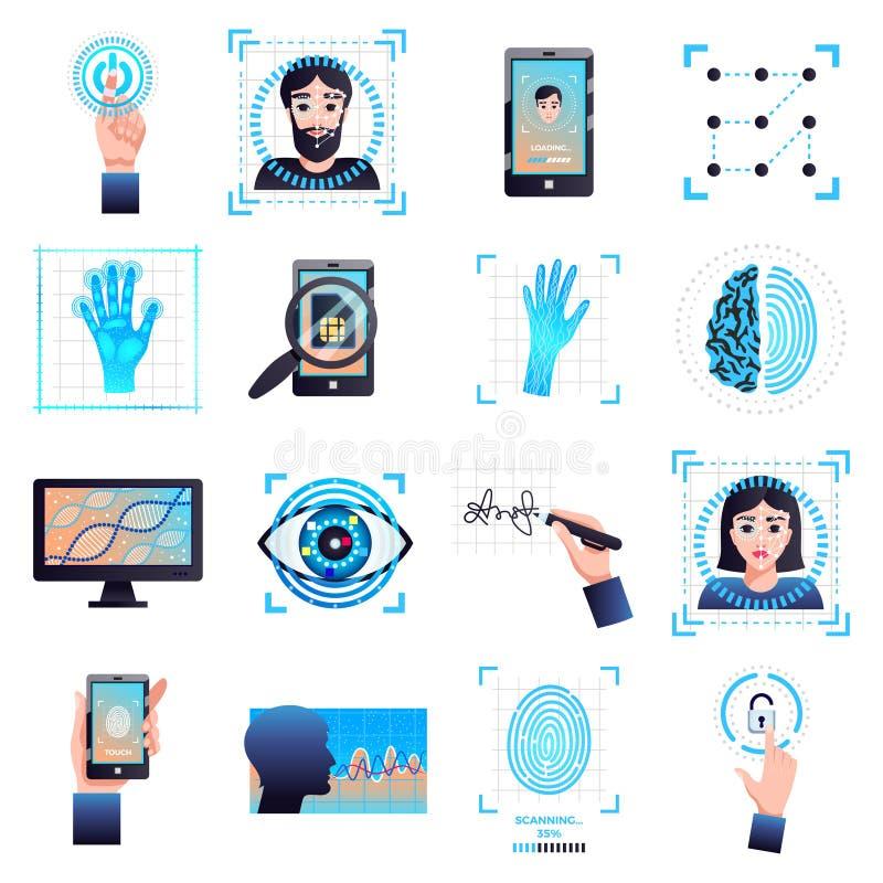 Ícones das tecnologias da identificação ajustados ilustração royalty free
