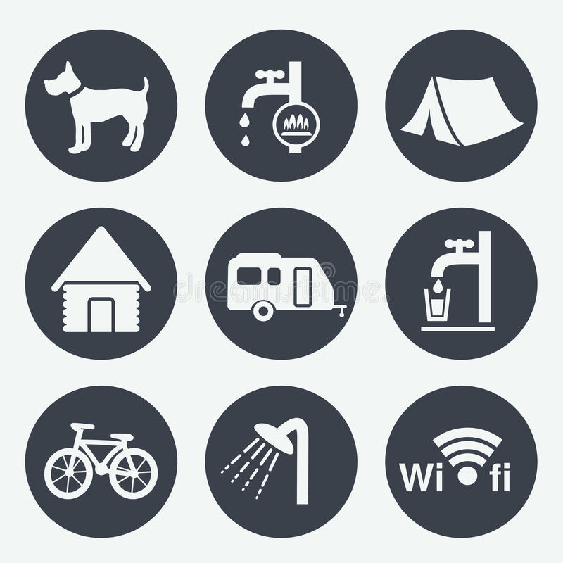 Ícones de acampamento - botões circulares, grupo 1 ilustração stock