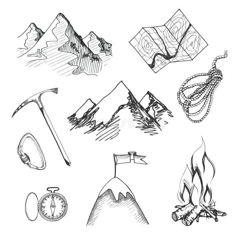 Ícones de acampamento do alpinismo ilustração stock