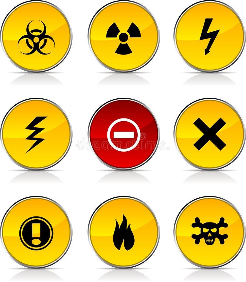 Ícones de advertência. ilustração royalty free