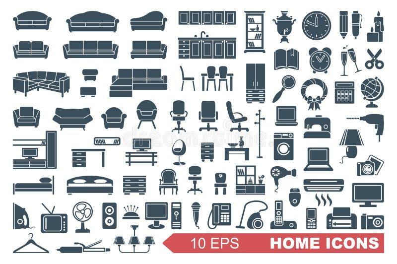 Ícones de aparelhos eletrodomésticos da mobília e ilustração do vetor
