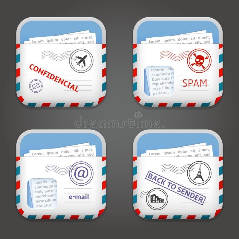 Ícones de Apps do email ilustração stock