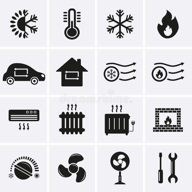 Ícones de aquecimento e refrigerando ilustração royalty free