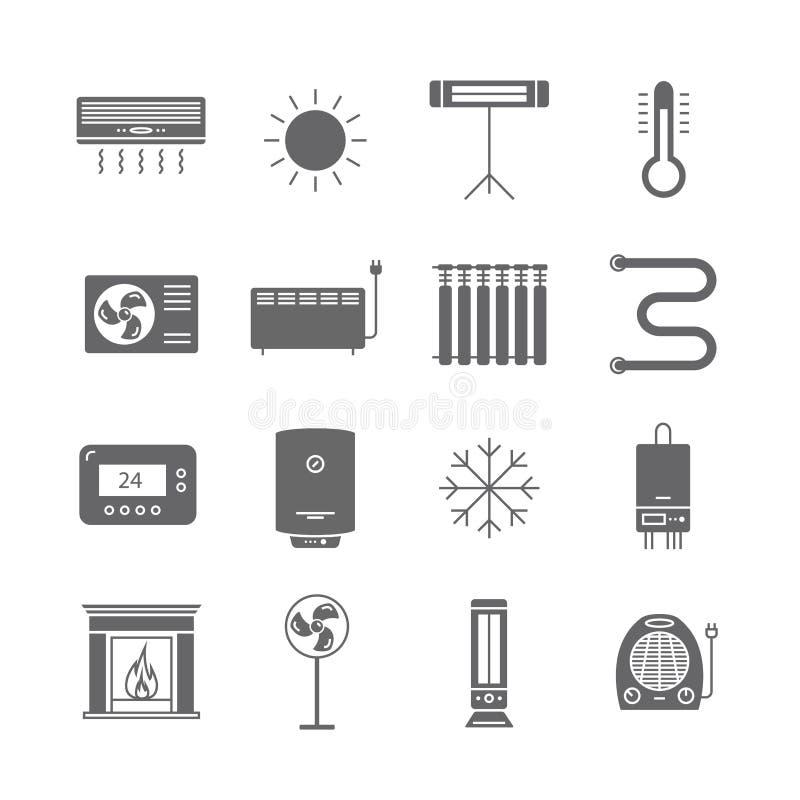 Ícones de aquecimento e refrigerando isolados no branco Ventilação e ilustração de acondicionamento do vetor ilustração stock