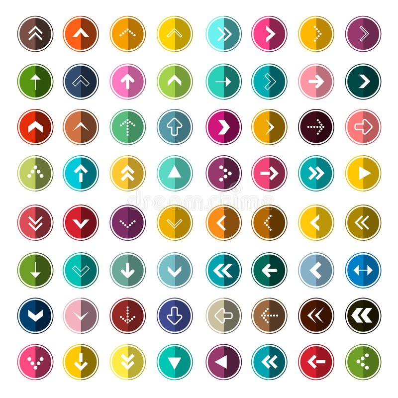 Ícones de Arows ajustados para o App Seta do vetor no grupo do círculo ilustração do vetor