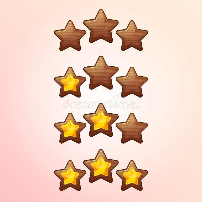 Ícones de avaliação de XP do jogo fresco dos desenhos animados, moldes completos do vetor do nível, elementos do GUI da madeira ilustração do vetor