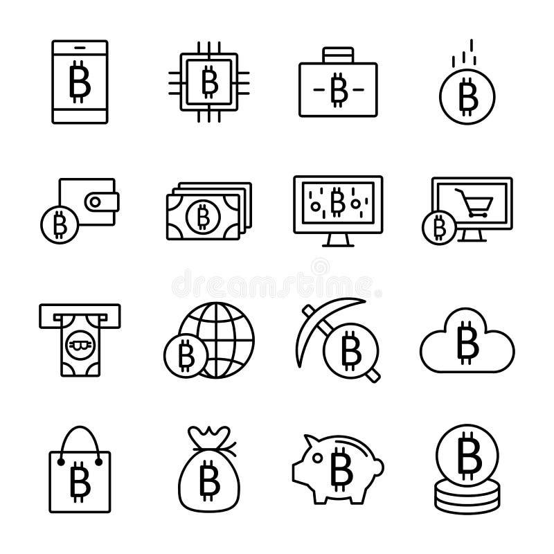 Ícones de Bitcoin e de Cryptocurrency ilustração royalty free