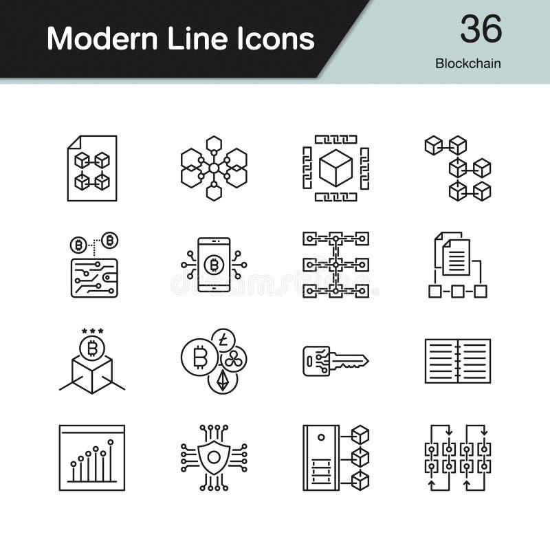 Ícones de Blockchain A linha moderna projeto ajustou 36 Para a apresentação, g ilustração stock