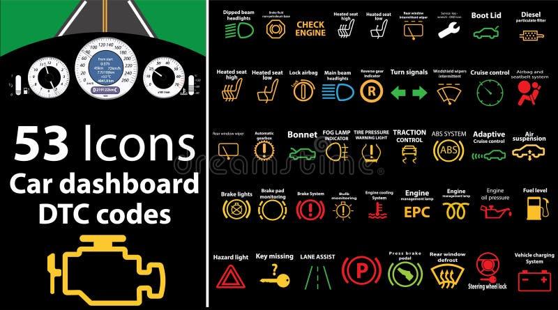 ícones de 53 blocos - painel do carro, códigos do dtc, mensagem de erro, motor da verificação, falha, ilustração do painel, nível ilustração stock