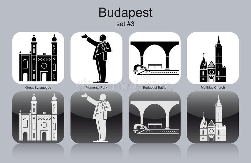 Ícones de Budapest ilustração stock
