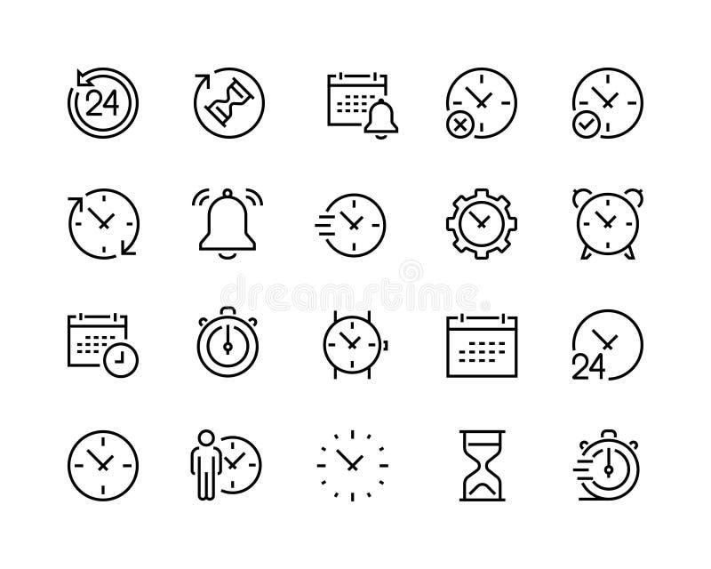 Ícones de calendário e relógio definidos, 96x96 pixel perfeito fotografia de stock