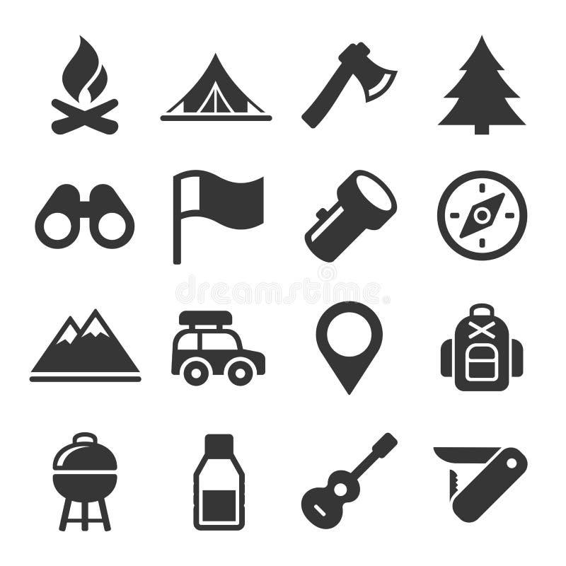 Ícones de caminhada e de acampamento ajustados Vetor ilustração stock