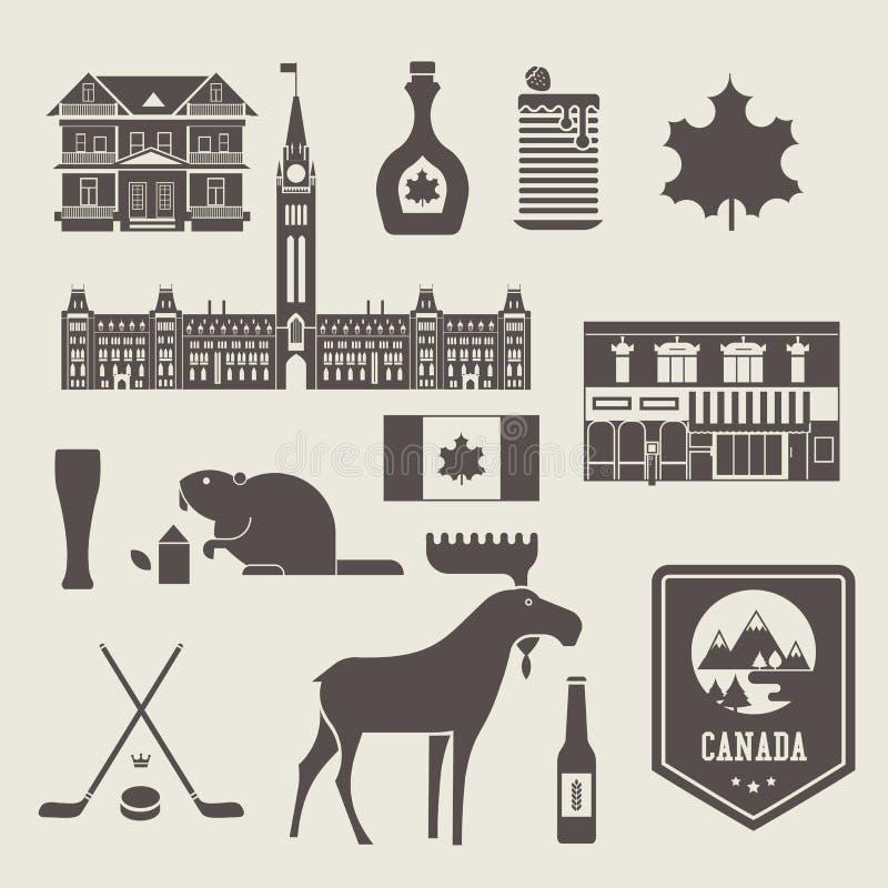 Ícones de Canadá ilustração stock