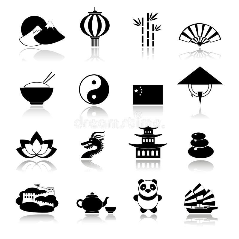 Ícones de China ajustados pretos ilustração do vetor