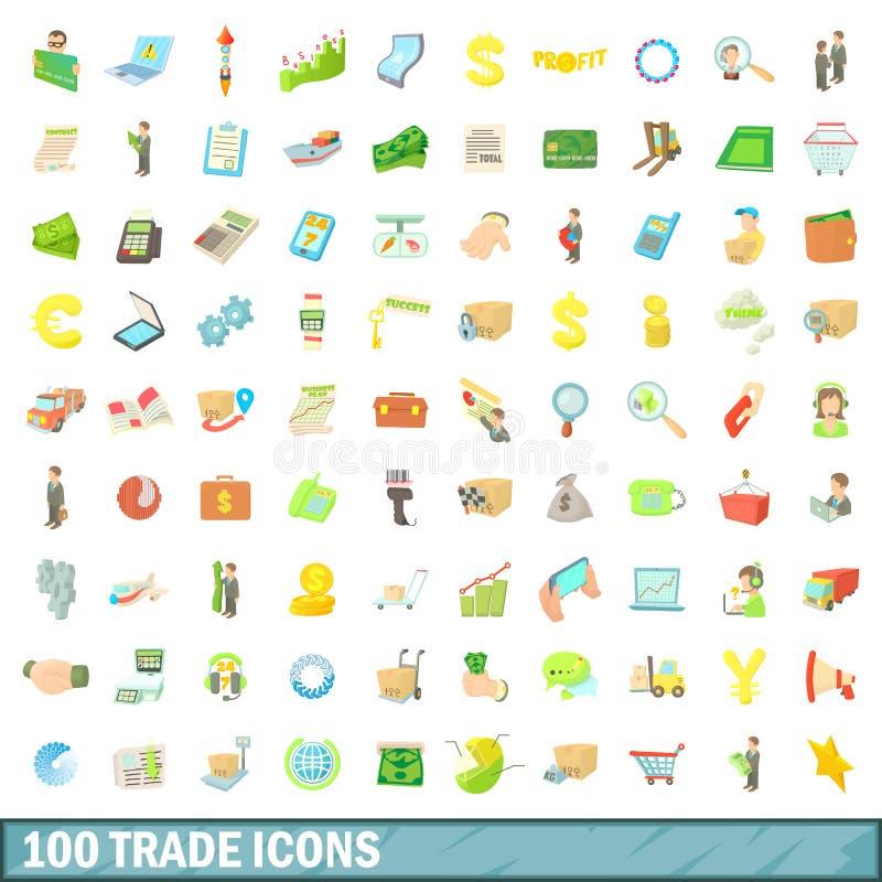 100 ícones de comércio ajustados, estilo dos desenhos animados ilustração stock