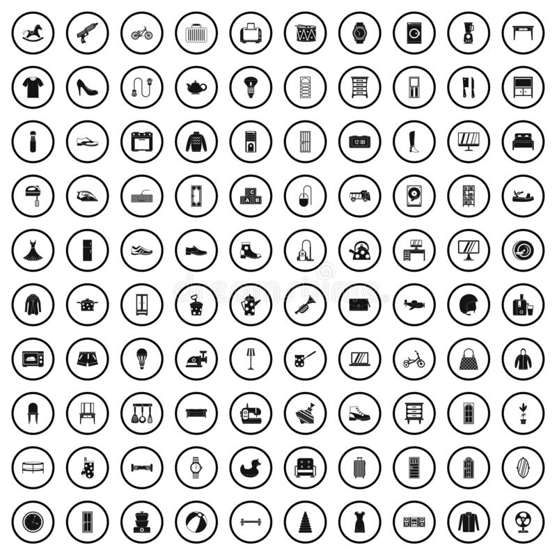 100 ícones de comércio ajustados, estilo simples da exposição ilustração royalty free